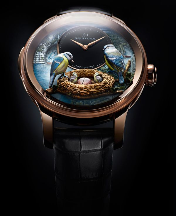 Jaquet Droz. The Bird Repeater watch.  Perfect for rich twitchers.