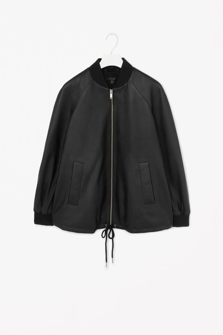 A-line leather jacket