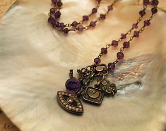 Lucky Diamond Eye and Amethyst Necklace