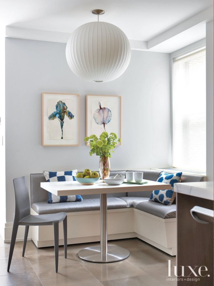modern gray breakfast nook with blue accents - Breakfast Nook Ideas