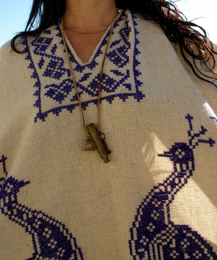 Vintage Hand Embroidered Peacocks Mexican Poncho