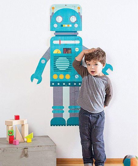 Petit Collage Blue Robot Growth Chart   zulily