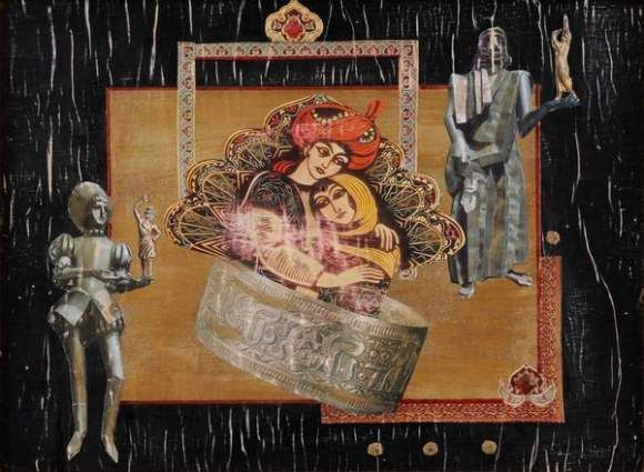 PARAJANOV Sergej, 1924-1990 (Armenia)   -   Aladdin, Collage with mixed media and paper on panel.