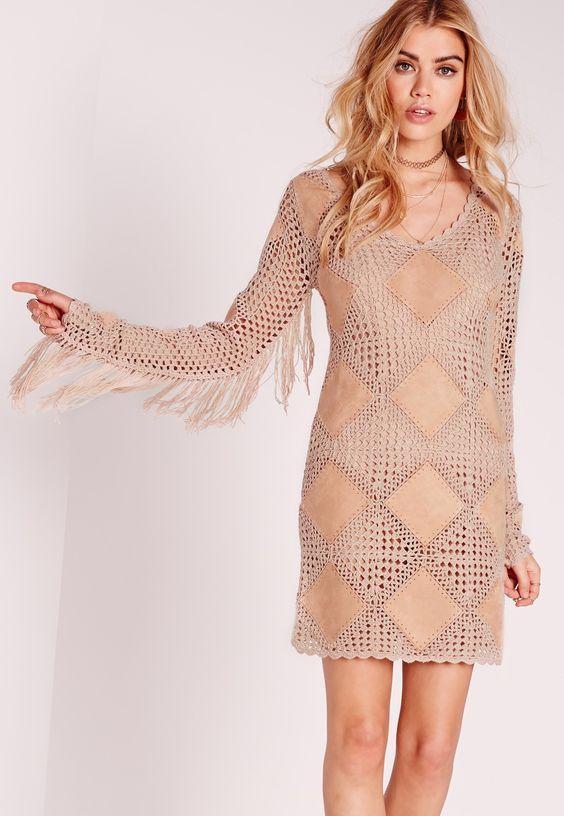 Moda em Crochê: Crochê + Suede -Vestido de crochê e suede Missguided