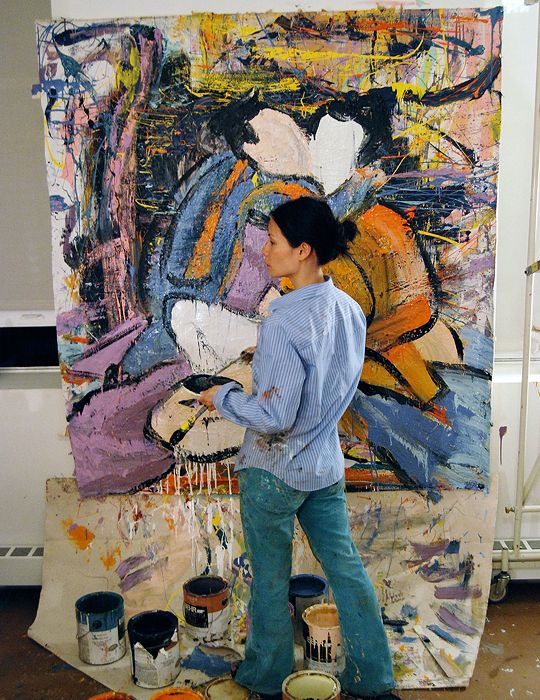 stevemcqueened:  Lucy Liu in her studio                                                                                                                                                      More                                                                                                                                                                                 More