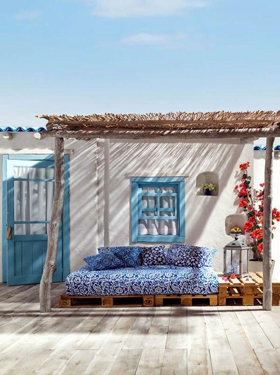 Tuscan Patio | Cabana | Romantic Patio | Mediterranean Outdoor Furniture | Deep Blues | Rich Reds | Residential Real Estate | Denver Colorado | Usaj Realty