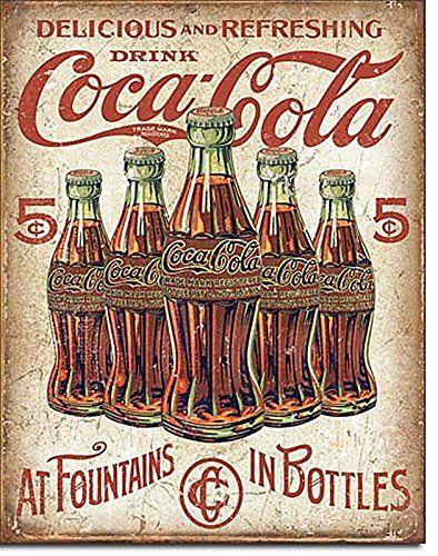 Coke - 5 Bottles Retro - Tin Sign (All New Coke Sign)