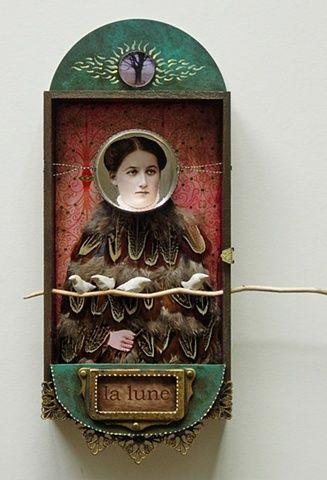 ≗ Feathered Nest of Hope ≗ bird feather & nest art jewelry & decor - bird woman assemblage   selene