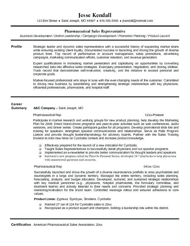 Resume Pharmaceutical Sales Pharmaceutical Sales Rep