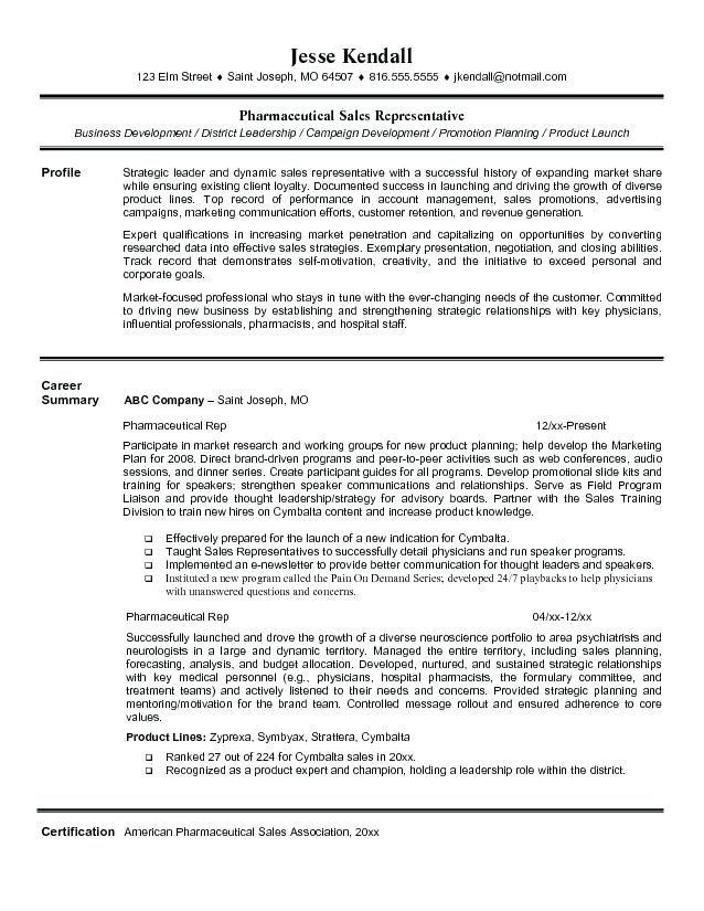 resume pharmaceutical sales pharmaceutical sales rep