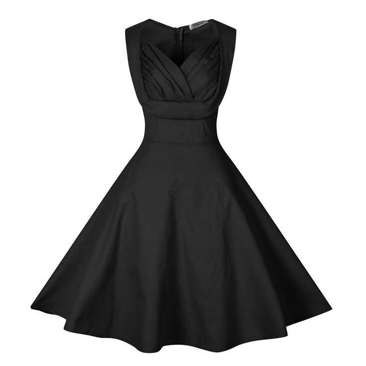 50s Vintage Black Solid Party Cocktail Dress