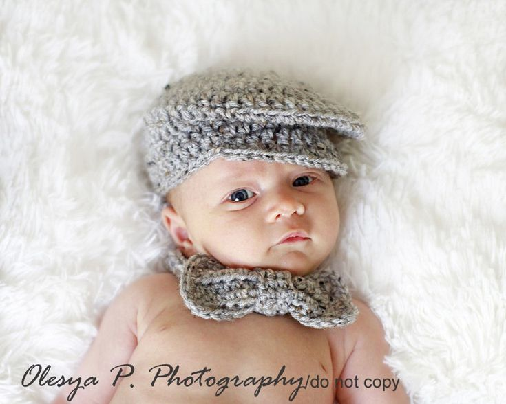 PDF CROCHET PATTERN 045 - Driver cap and bow (tie) - Size 0-3months. $4.50, via Etsy.