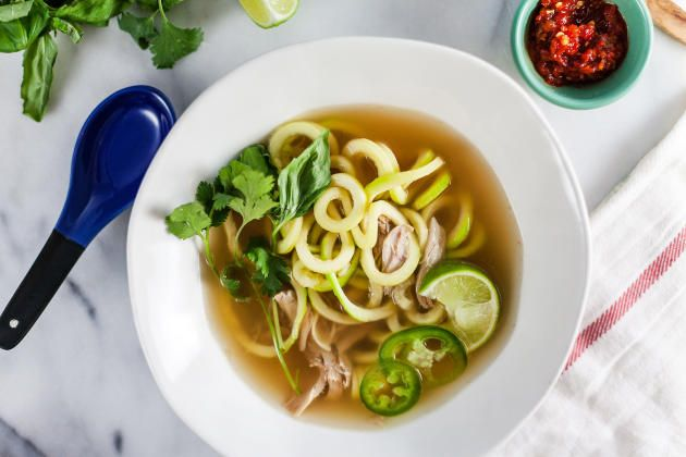 Thai Chicken Soup with Zucchini Noodles is a healthy dinner you'll absolutely love. Warm and comforting.