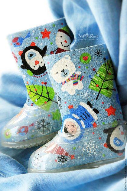 """Детская обувь ручной работы. Ярмарка Мастеров - ручная работа. Купить Валеночки """"Чудо-чудное"""". Handmade. Голубой, валенки для мальчика"""