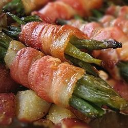 This is a hit in our house. Green beans wrapped in bacon-y goodness then oven-roasted. From Sarah.