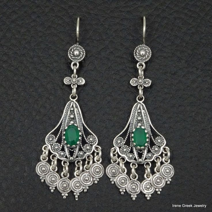 NATURAL GREEN ONYX FILIGREE STYLE 925 STERLING SILVER GREEK HANDMADE EARRINGS #IreneGreekJewerly #Chandelier