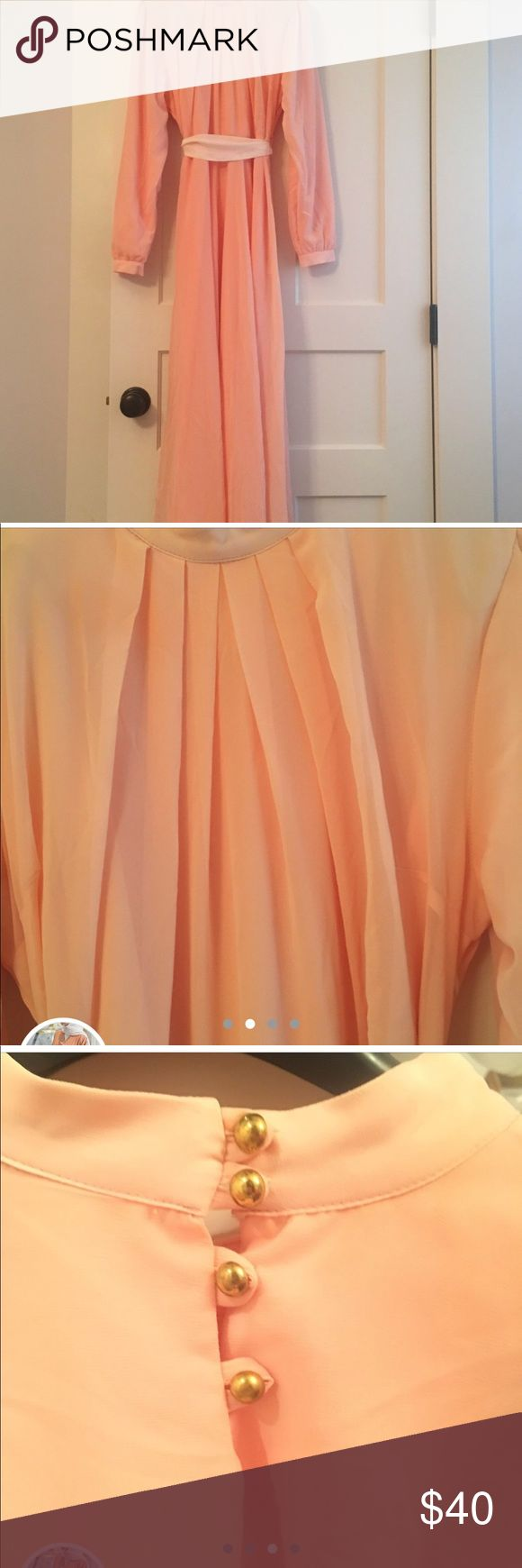 Full Length dress Full length long sleeve light pink Modanisa dress. Was worn only once on Eid and dry cleaned after. Perfect for Eid celebration, or any party or formal event. Was bought for 60, will sell for 30. Price is negotiable.   #pink #long #flowy #dress #white #gold #buttons #party #eid #ramadan #modest #modanisa #hijab #hijabi #islam #islamic Dresses