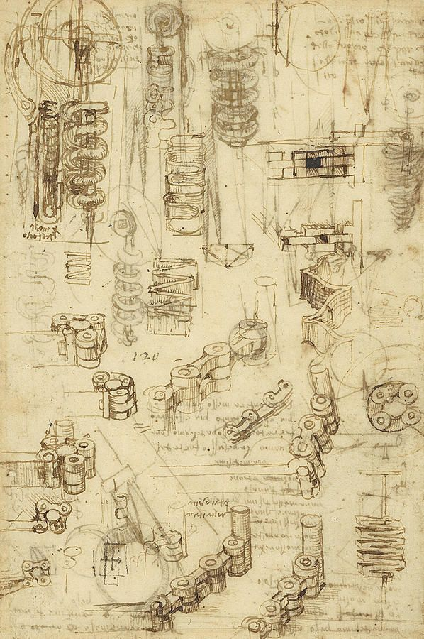 Leonardo Drawing - Whirling Rotation And Helicoidal Chains And Springs For Mechanical Devices by Leonardo Da Vinci