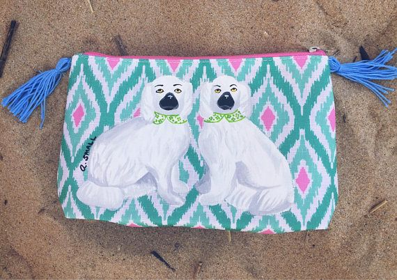 Staffordshire Dogs Chinoiserie Chic Dog Toiletry Bag Pencil
