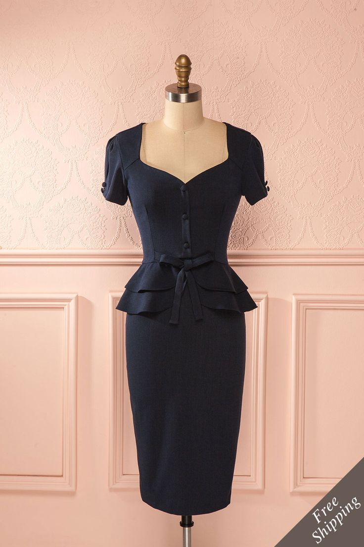 Jeannette - Blue retro fitted peplum midi dress