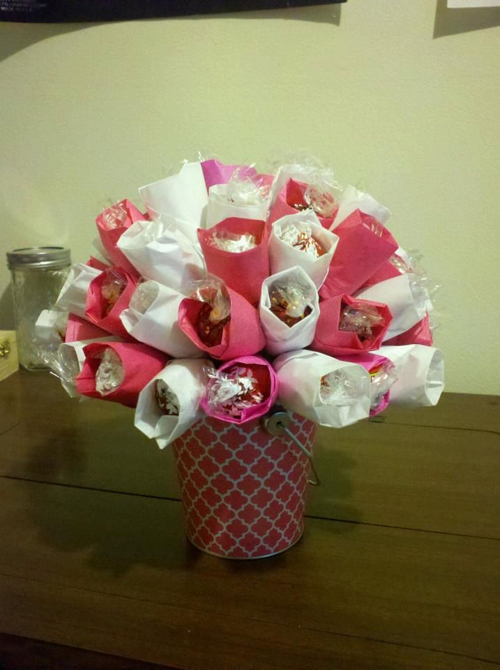 Valentine candy bouquet ideas the image for Valentine candy crafts ideas