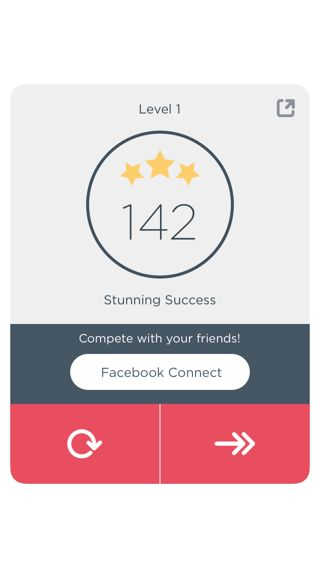 Two Dots iPhone popovers, games screenshot. Good sense of achievement.