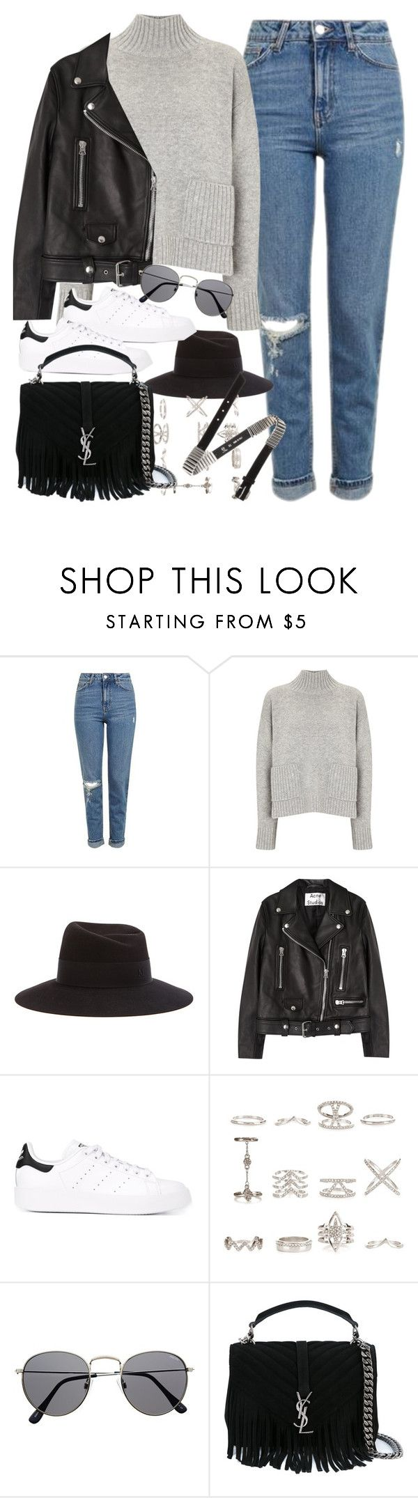 """""""Outfit with mom jeans"""" by ferned ❤ liked on Polyvore featuring Topshop, Frame, Maison Michel, Acne Studios, adidas Originals, New Look, Yves Saint Laurent and McQ by Alexander McQueen"""