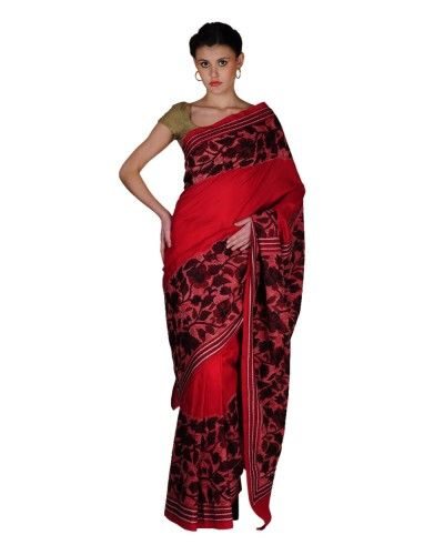 New Red Kantha Work Hand Painted Saree. buy online visit : talkingthreads.in