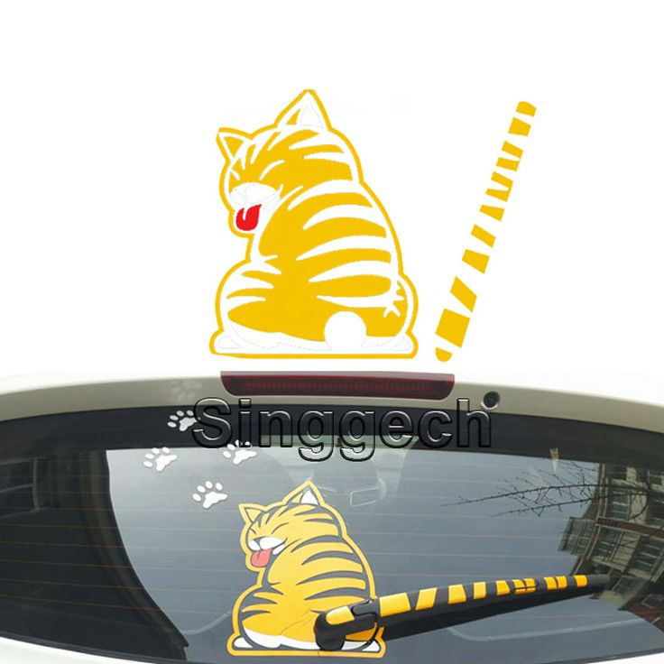 Car Styling Rear Window Wiper Decals Cat Stickers For Audi A3 A1 Q3 Q5 Q7 BMW F20 E81 E87 X5 E53 E70 X1 X3 X6 E71 Accessories