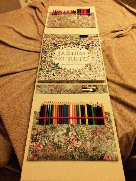 Pasta para livro de pintura com suporte para lápis de cores - Arte em craft