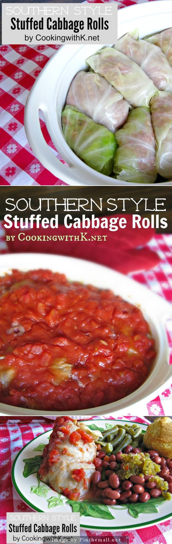 Southern Style Cabbage Rolls {Granny\'s Recipe} |  An old fashioned recipe made with hamburger, rice,  onions, and covered in a ketchup diced tomato sauce. | CookingwithK.net