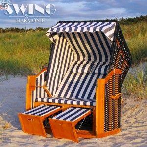 Luksus strandstol - blå/hvit