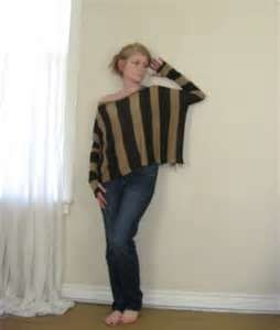 Image Detail for - ... Sweater / Top - Dark Brown and Camel Vertical Stripes - Fits XSmall