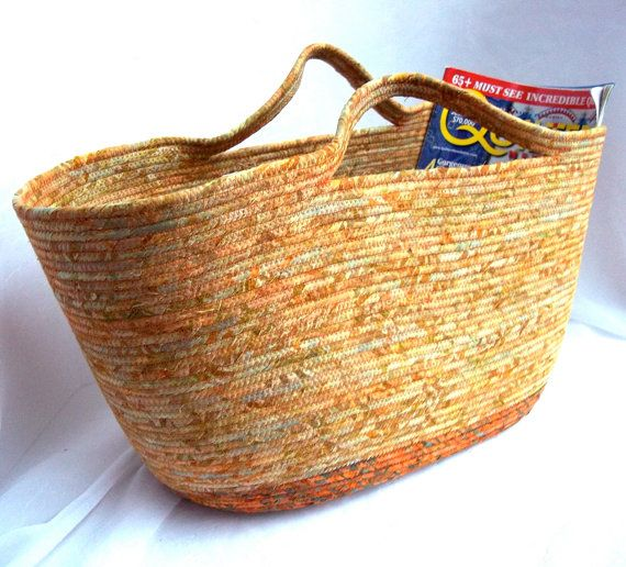 Southwestern Magazine Rack, Handmade Batik Fabric Basket, Large Tan Storage Organizer, hand wrapped and coiled fabric basket