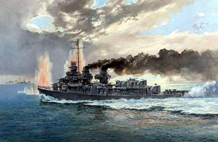 Paul Wright. The U.S.S. JOHNSTON, Battle of Samar, October, 1944. J. Russell Jinishian Gallery, Inc.