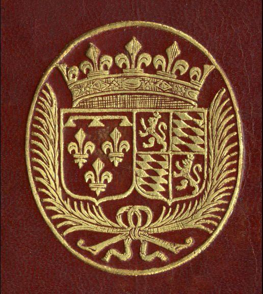 """Charlotte-Elisabeth de Bavière, 1652-1722, duchesse d'Orléans. Mariée à Philippe, duc d'Orléans, frère de Louis XIV. A la mort de son époux en 1701, elle reçut le titre de Madame et fut surnommée la Palatine. Elle possédait une collection importante de médailles, ainsi qu'une bibliothèque composée principalement de livres de théologie et qui contenait presque tous les ouvrages de Bossuet. -- écus accolés; """"1, d'Orléans; 2. écartelé : aux 1 et 4, Palatinat; aux 2 et 3, Bavière""""."""