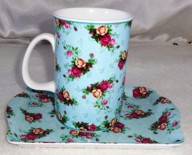 Lovely Flawers Royal Albert  Snack Set: Mug and  Melamine Tray & Bone China Mug #RoyalAlbert