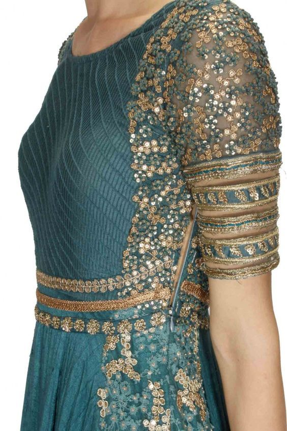 Teal blue and gold floral sequins embroidered anarkali suit available only at Pernia's Pop Up Shop.:
