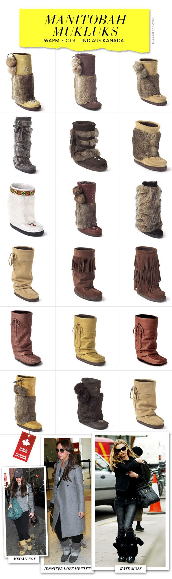 Manitobah Mukluks as worn by Jen Love Hewitt, Kate Moss and Megan Fox. Available at www.styleNV.ca