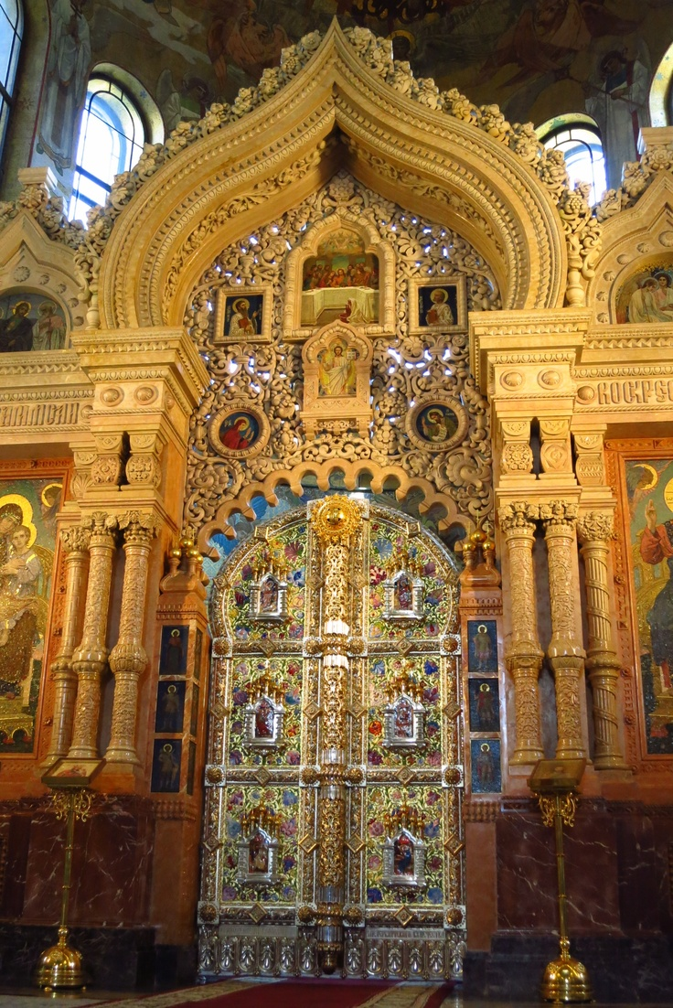 The royal doors at the Cathedral of the Resurrection of Christ (aka Church of the Savior on Spilled Blood) in St. Petersburg, Russia