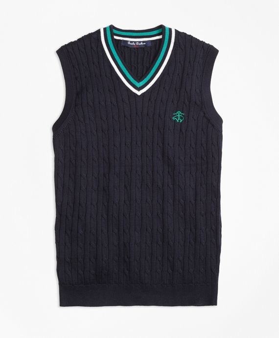 Our tipped vest is crafted in Supima® cotton and features contrast Golden  Fleece® embroidery