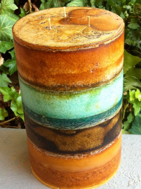 3 Wick 6 x 9 Large Textured Rustic Layered by ReginaContreras2, $80.00