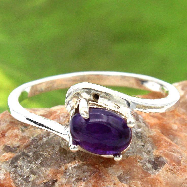 valentine day 925 Sterling Silver Purple Amethyst Gemstone Ring us 6.75 #Handmade #Ring #valentineday