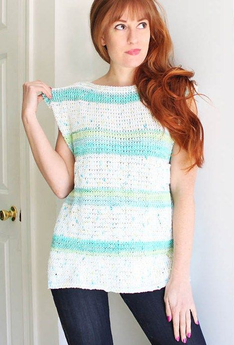 Easy Knit Top Pattern : Sleeveless Tops Knitting Patterns Yarns, Colors and Garter