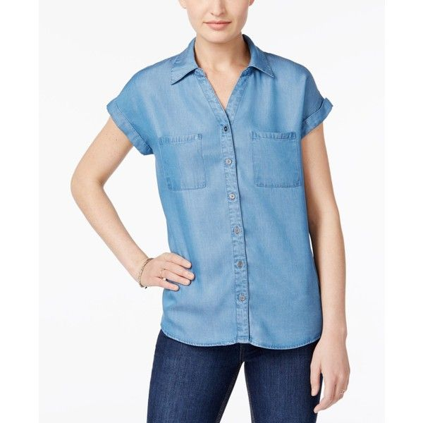 Style & Co Short-Sleeve Denim Shirt, ($50) ❤ liked on Polyvore featuring tops, sun wash, blue button-down shirts, denim button up shirt, denim button down shirt, short sleeve button up shirts and short sleeve button down shirts