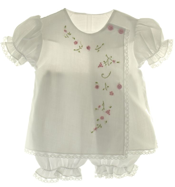 Hiccups Childrens Boutique - Willbeth Newborn Baby Girls White Diaper Set Pink Embroidered Flowers, $35.00 (http://www.hiccupschildrensboutique.com/willbeth-newborn-baby-girls-white-diaper-set-pink-embroidered-flowers/)
