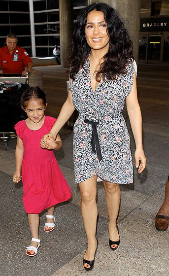 Salma's Mini-Me Salma Hayek and her adorable daughter Valentina took a happy stroll in L.A. July 1.