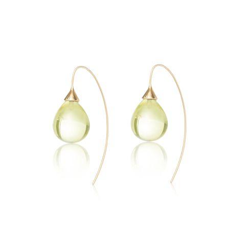 Lemon Quartz, Bulb Earring, Gold