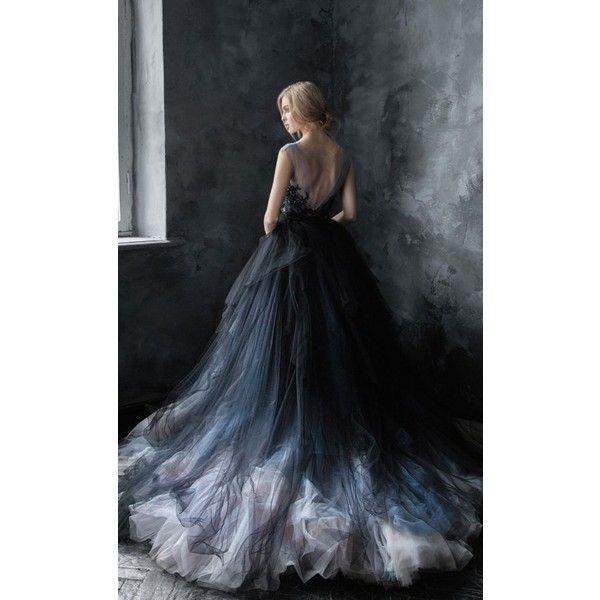 Unique Black, Blue and Silver Grey Tulle Ballgown Wedding Dress -... ❤ liked on Polyvore featuring dresses