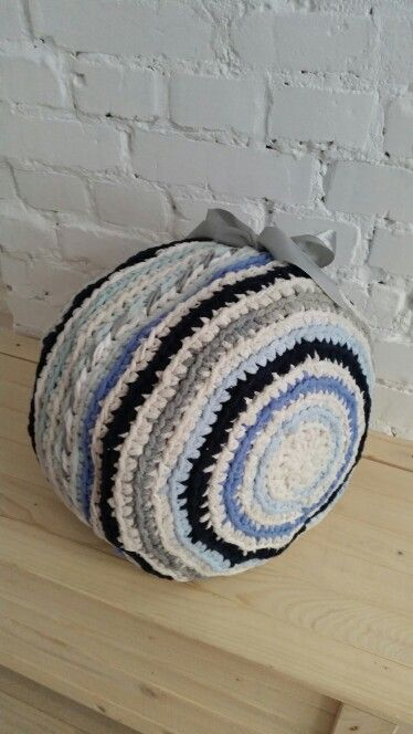 Crochet pouf made from old T-shirts.upcycled old clothes